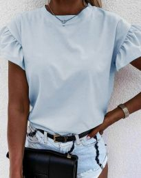 Дамска тениска с ефектни ръкави с къдрички в светлосиньо - код 4352