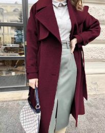 Дамско дълго елегантно палто с копчета и колан в цвят бордо - код 1635