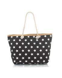Плажна чанта в черно на бели звездички с въжени дръжки - код H-9025