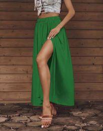 Дамска дълга пола в зелено с цепка - код 0849