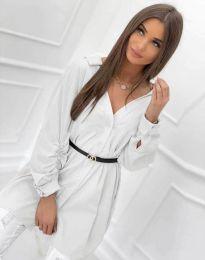 Дълга дамска риза с дълъг ръкав в  бяло - код 0227
