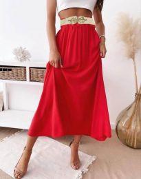 Разкроена дамска пола в червено - код 7400