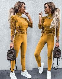 Дамски комплект блуза с поло яка и втален панталон кадифе в цвят горчица - код 4871