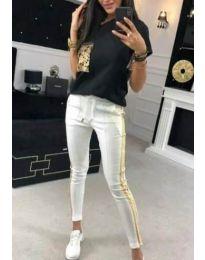 Дамски комплект блуза и панталон с пайети в черно - код 1298