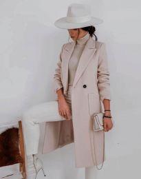 Елегантно дълго дамско палто с копчета в бежово - код 1695