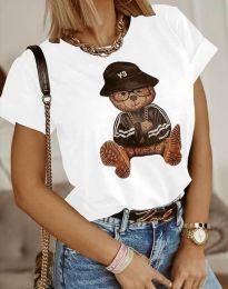 Атрактивна тениска с принт в бяло - код 4361