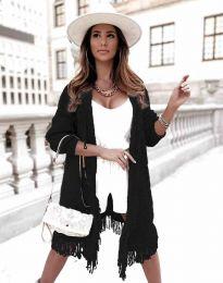 Ефектна дълга плетена дамска жилетка в черно - код 4702