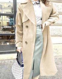 Дамско дълго елегантно палто с копчета и колан в бежово - код 1635