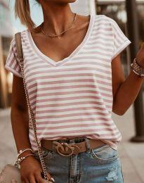 Дамска тениска в бежово райе - код 7572