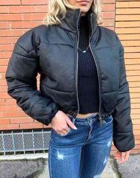 Дамско късо спорно яке с цип в черно - код 4077