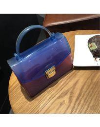 Дамска чанта в синьо от силикон с метална дръжка - код B107