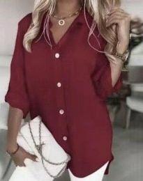 Дълга дамска риза в цвят бордо - код 0239