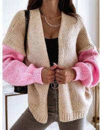 Атрактивна свободна плетена дамска жилетка в бежово и розово - код 9843 - 1