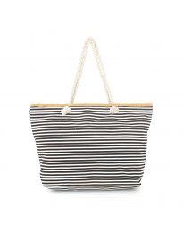 Плажна чанта с черно райе с въжени дръжки - код H-9030