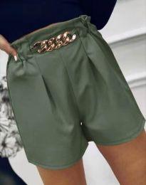 Атрактивни къси панталони в масленозелено - код 2085