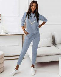 Спортен дамски комплект с блуза с дълъг ръкав и долнище в синьо - код 12034