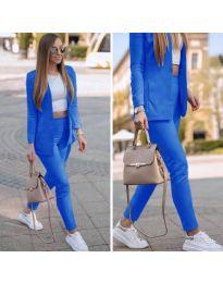 Спортно-елегантен дамски комплект сако и панталон в тъмносиньо - код 215