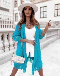Ефектна дълга плетена дамска жилетка в цвят тюркоаз - код 4702