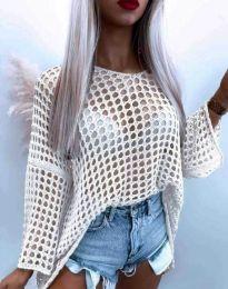 Ефектна дамска блуза от едра плетка в бяло - код 4805