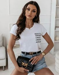 Дамска тениска в бяло с надписи - код 11792