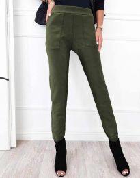 Дамски спортно-елегантен панталон в масленозелено - код 2836