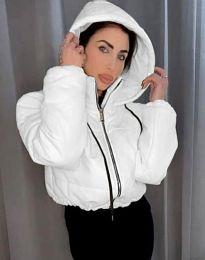 Късо дамско спортно яке с качулка в бяло - код 6657