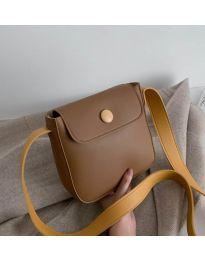 Дамска чанта в кафяво и дълга дръжка цвят горчица - код B76