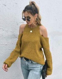 Дамски пуловер с голи рамене в цвят горчица - код 3165