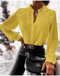 Кокетна дамска риза в цвят горчица - код 9902
