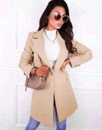 Дамско елегантно палто с копче в бежово - код 4704