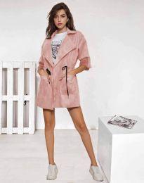 Атрактивно дамско сако от велур в пудра - код 8135