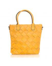 Дамска чанта в цвят горчица с ефект преплетена кожа - код LS594