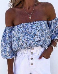 Дамска блуза с голи рамене в синьо - код 2075 - лице