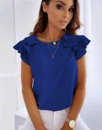 Блуза с къс ръкав с ефектни ръкави в тъмносиньо - код 3299