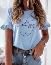 Дамска тениска в светлосиньо с надпис - код 1038