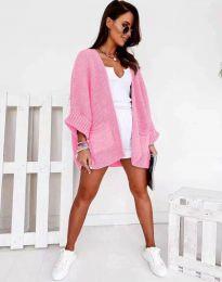 Дамска свободна плетена жилетка в розово - код 0553