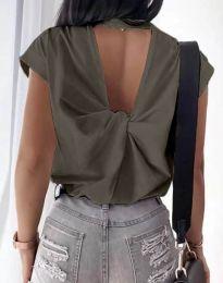 Дамска тениска с ефектен гръб в тъмнозелено - код 4515