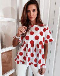 Атрактивна дамска блуза с червени мотиви - код 6181