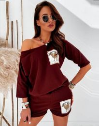 Къс дамски сет блуза и къси панталонки в цвят бордо - код 1407