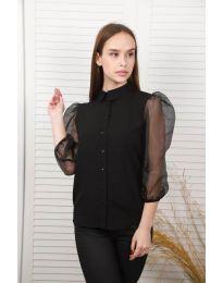 Дамска риза в черно с ръкави от тюл - код 0633