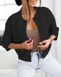 Къса плетена дамска жилетка в черно - код 4695