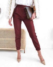 Дамски свободен кожен панталон с ластик в цвят бордо - код 5361