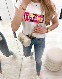 Атрактивна тениска с принт в бяло - код 11707