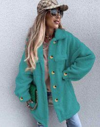 Дамско свободно меко палто с копчета в цвят тюркоаз - код 4967