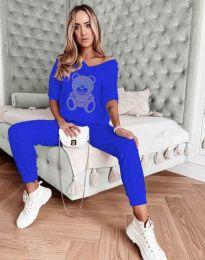 """Атрактивен спортен екип панталон с висока талия и блуза с деколте """"лодка"""" в синьо с анимация - код 3235"""