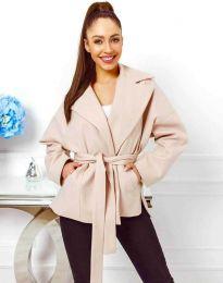 Късо дамско палто с колан в бежово - код 0121