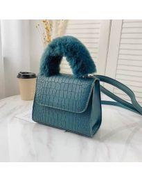 Дамска чанта в цвят тюркоаз със змийски ефект и пухкава дръжка - код B57