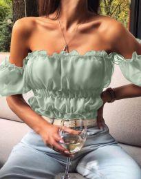 Дамска къса блуза с голи рамене в цвят мента - код 5615