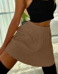Къса дамска пола в цвят капучино - код 1014