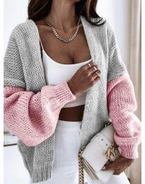 Атрактивна свободна плетена дамска жилетка в сиво и розово - код 9843 - 3